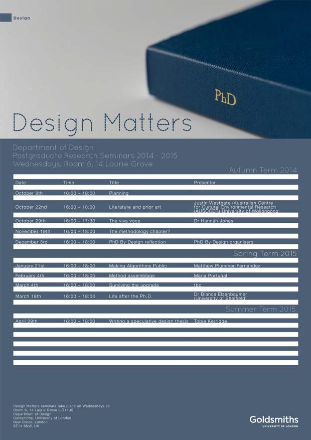 Design Matters Doctoral Seminar Series 2014-2015