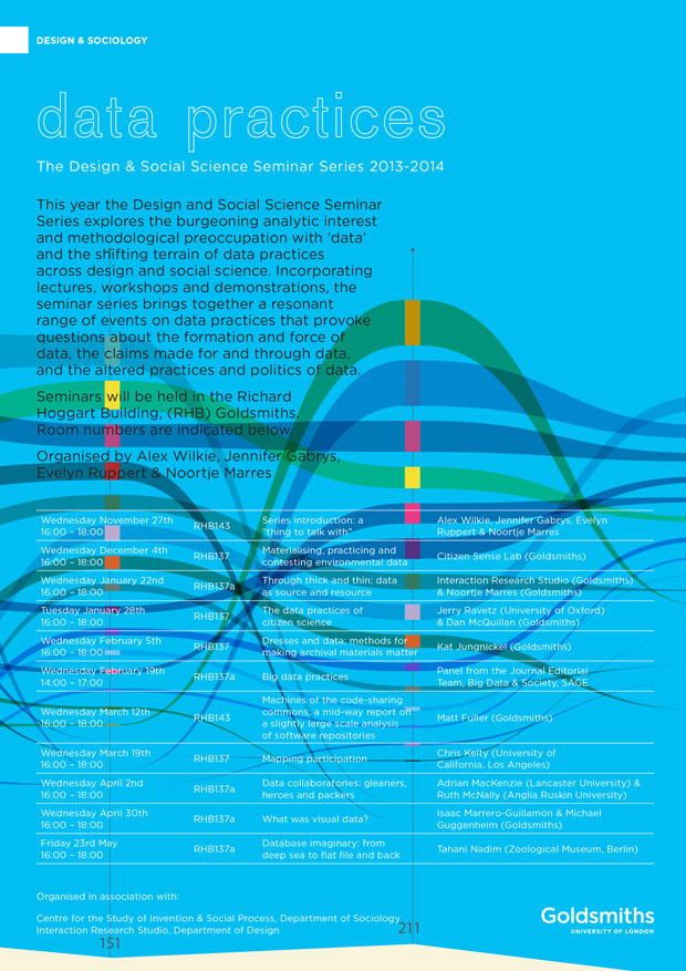 Data Practices: Design and Social Science Seminar Series 2013-2014