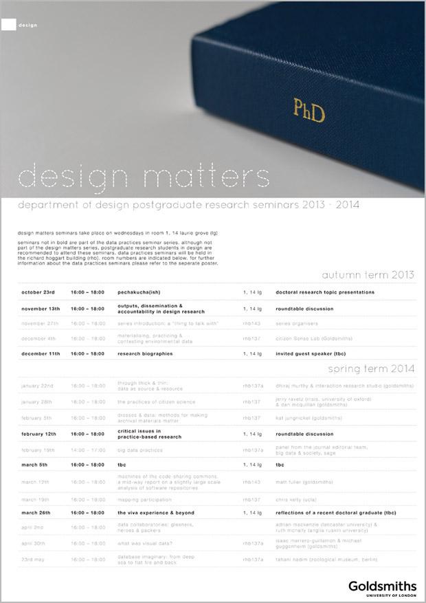 Design Matters: Department of Design Postgraduate Research Seminars