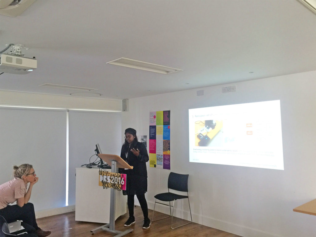 Anuradha Venugopal Reddy presenting her paper The Role of Participation in Designing for IoT at the Aesthetics, Cosmopolitics and Design track at DRS 2016.